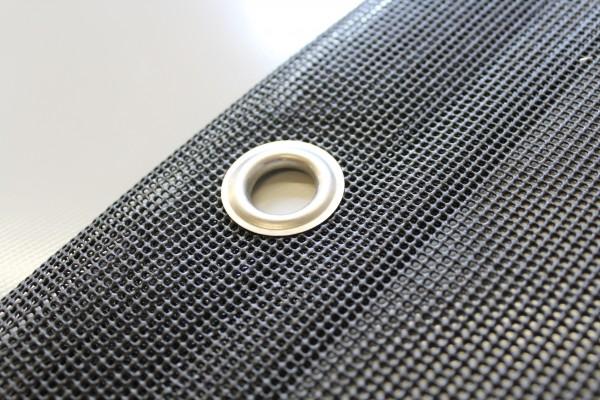 PVC Netz mit Saum und Ösen alle 1m, schwarz