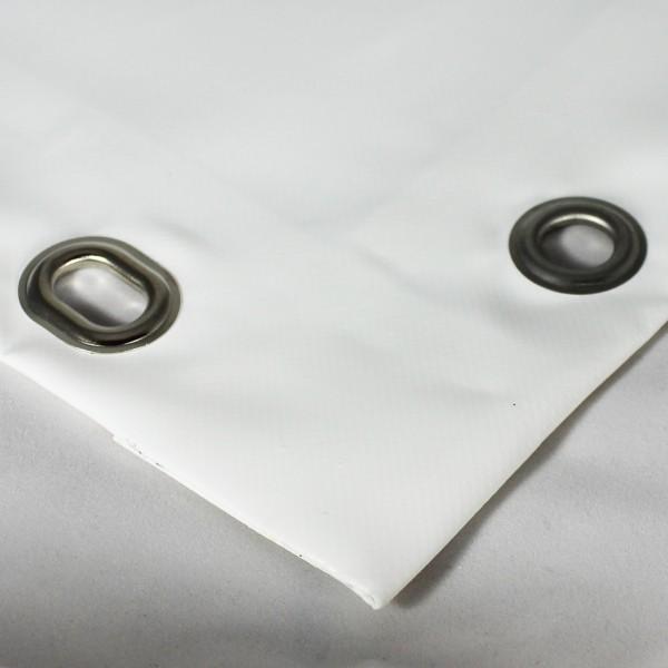 PVC matt mit Saum und Ösen alle 50cm, weiß