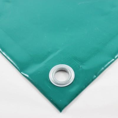 PVC Plane grün RAL6026, ca. 680g/m² mit Saum und Ösen alle 1m