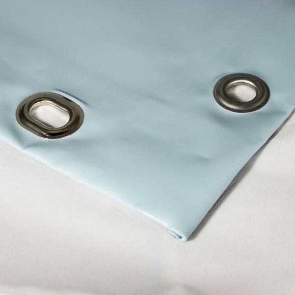 PVC matt mit Saum und Ovalösen alle 100cm, taubenblau