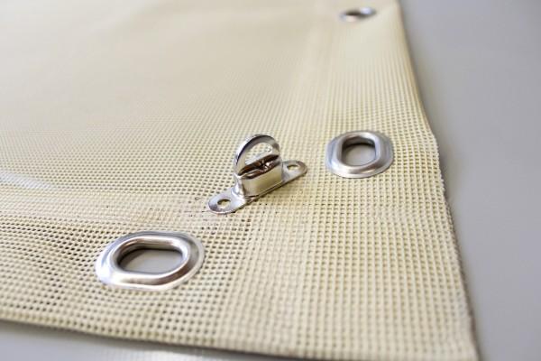 PVC Netz mit Saum und Ovalösen alle 1m, beige, inkl. Drehwirbel