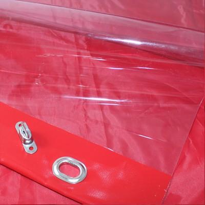 PVC klar mit farbigem Saum und Ovalösen mit Drehwirbeln alle 50cm, inkl. Drehwirbel
