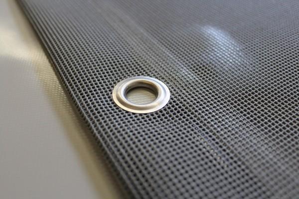 PVC Netz mit Saum und Ösen alle 50cm, grau