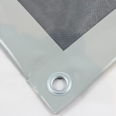 PVC Netz mit Saum und Ösen alle 1m, grau