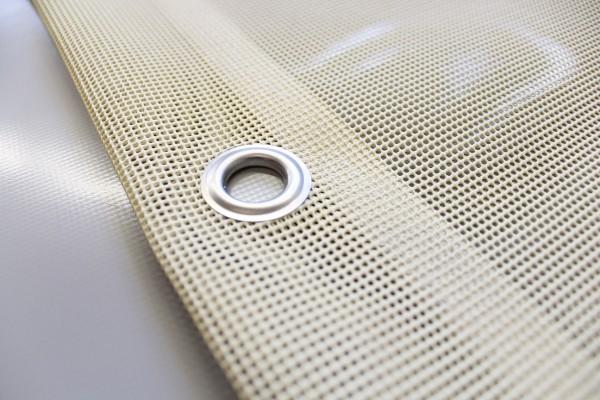 PVC Netz mit Saum und Ösen alle 1m, beige
