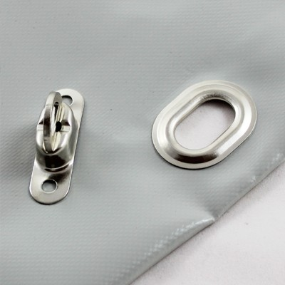 PVC Plane mit Saum und Ovalösen alle 50cm, Grau RAL 7038, inkl. Drehwirbel