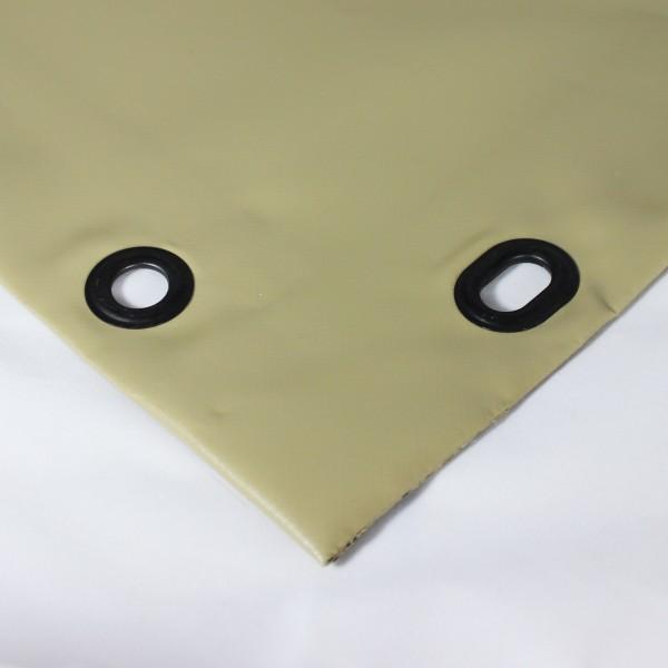 PVC matt mit Saum und Ovalösen alle 50cm, sand